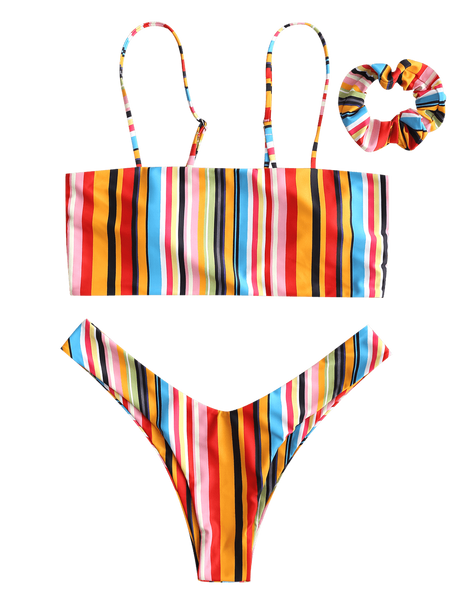 Colorful Striped Cami Bikini with Headband- Red& Green