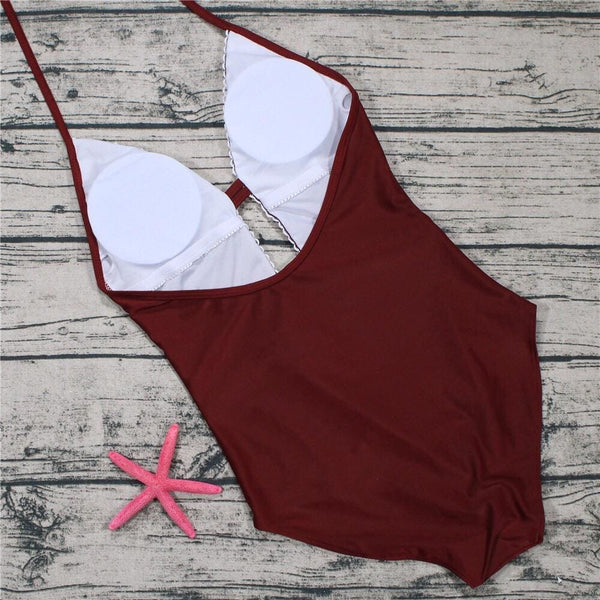 Crochet Panel Halter Backless One Piece Swimsuit Wine