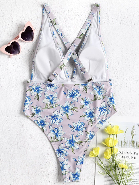 Deep V Floral Bathing Suit One-piece