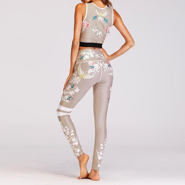 Fashion Floral Print Yoga Top And Leggings Set