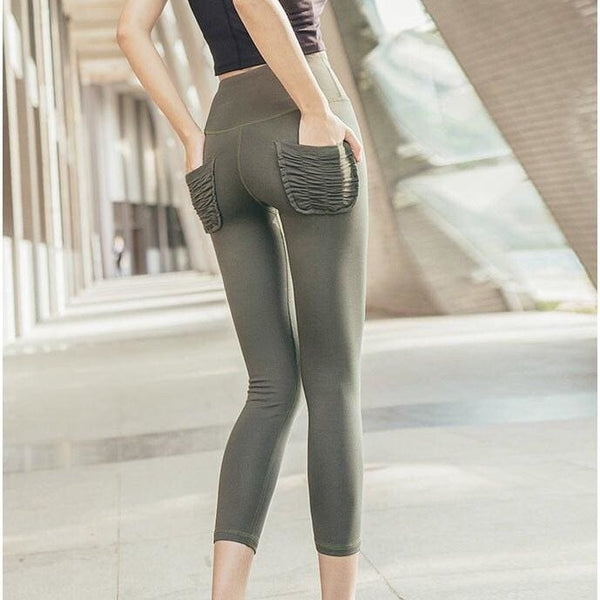 Fashion Two Pocket Leggings Fitness Pants - olive / L