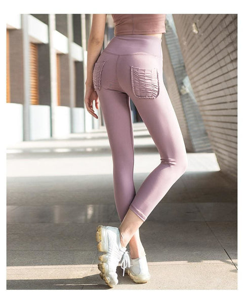 Fashion Two Pocket Leggings Fitness Pants - purple / L