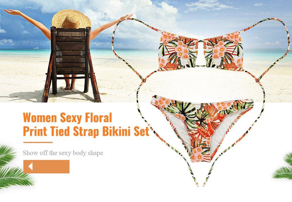 Floral Print Tied Strap Backless Two-piece Bikini Set
