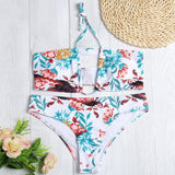 Halter Neck Cut Out Padded Backless Floral Print Low Waist Women Bikini Set