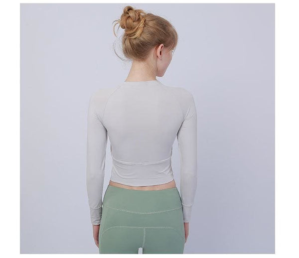 Long-Sleeve Womens Cropped Sports Top- 3 Colors Available