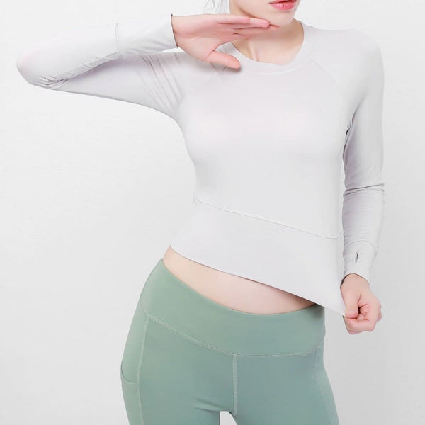 Long-Sleeve Womens Cropped Sports Top- 3 Colors Available - light grey / L