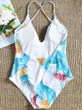 Low Cut Pineapple Print Backless Swimsuit