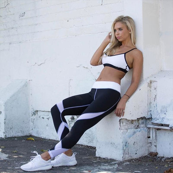 Mesh Patchwork Fitness Leggings Any 2 $28.99 - black / L