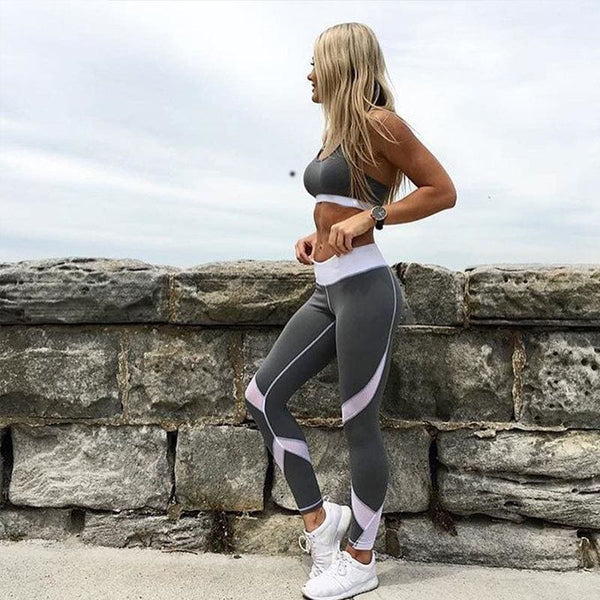 Mesh Patchwork Fitness Leggings Any 2 $28.99 - grey / L