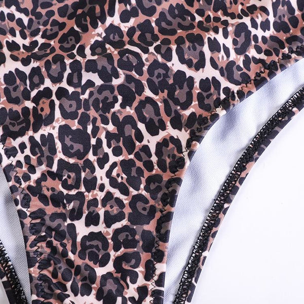 One Shoulder Leopard One-piece Swimsuit