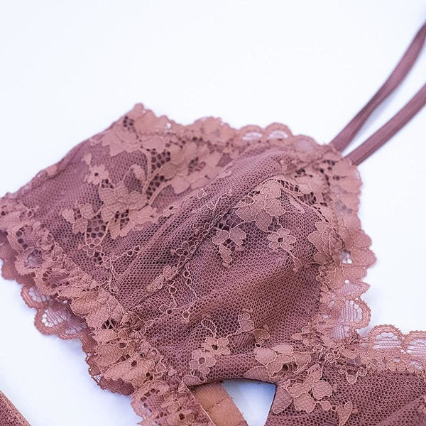 Padded Wireless Bra and Panties Girls Lace Lingerie