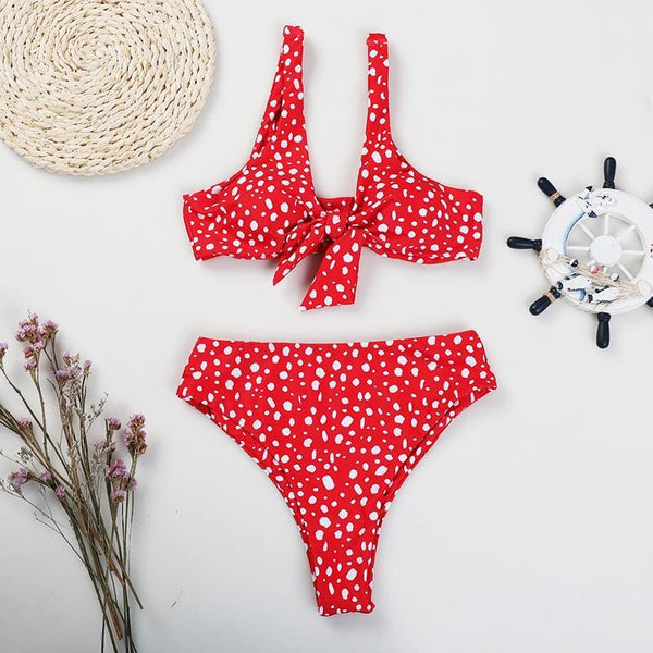 Red Front Knot Bikini Set - red / L