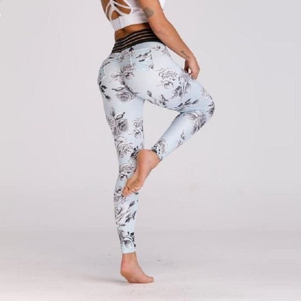 Sexy High Waist Floral Leggings - 1798 / S