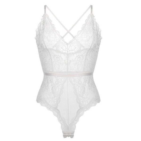 Sexy Lace Bodysuit - White / 70ABC 32ABC