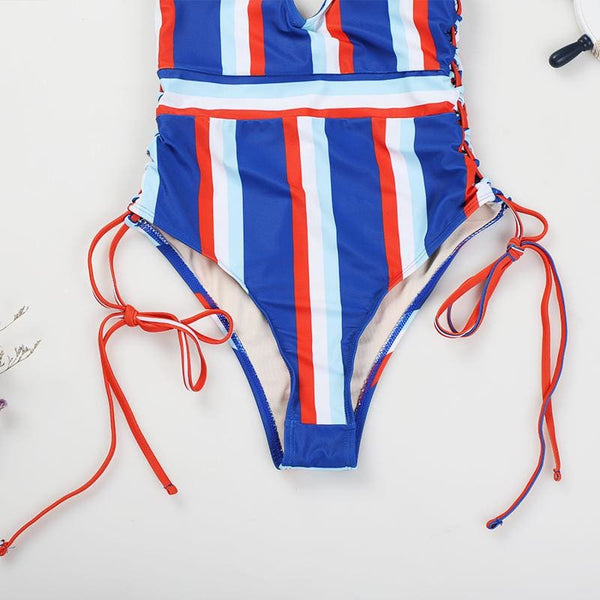 Side String Striped Swimsuit Beachwear