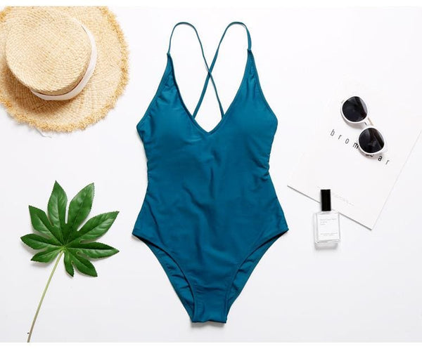 Solid Plunged Multi Wear Back Tie One-piece Swimsuit Bodysuit