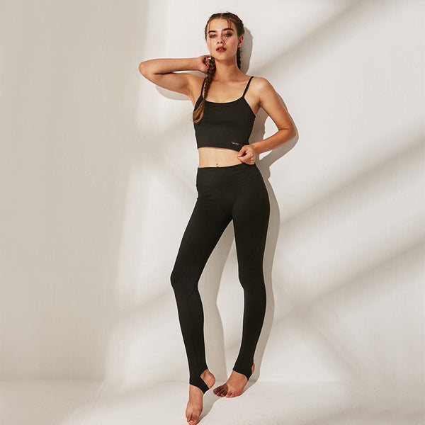 Sports Bra and Workout Leggings Set- 5 Colors Available - black / L