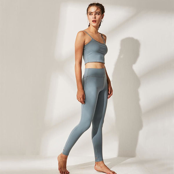 Sports Bra and Workout Leggings Set- 5 Colors Available - light blue / L