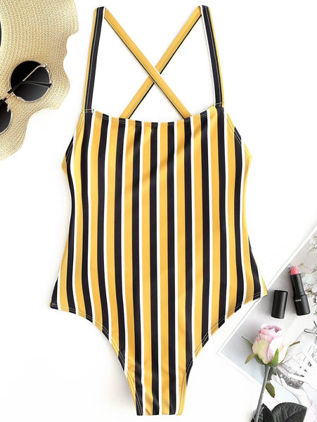 Stripe Cross Back One Piece Swimsuit - yellow / US Size 6/ Bust 82cm