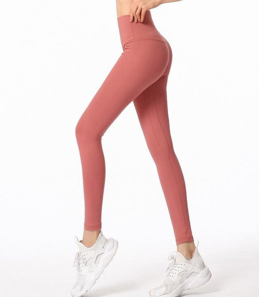Very Comfortable Fitness Leggings-Salmon - salmon / L