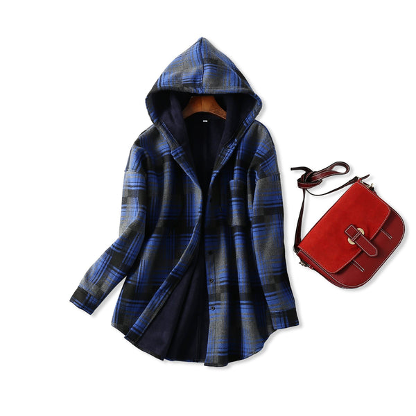 Womens Plaid Hooded Coat - blue / XXL