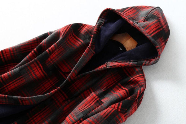 Womens Plaid Hooded Coat