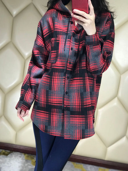 Womens Plaid Hooded Coat - red / L