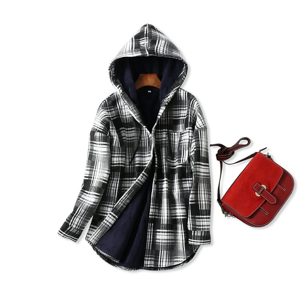 Womens Plaid Hooded Coat - white / L