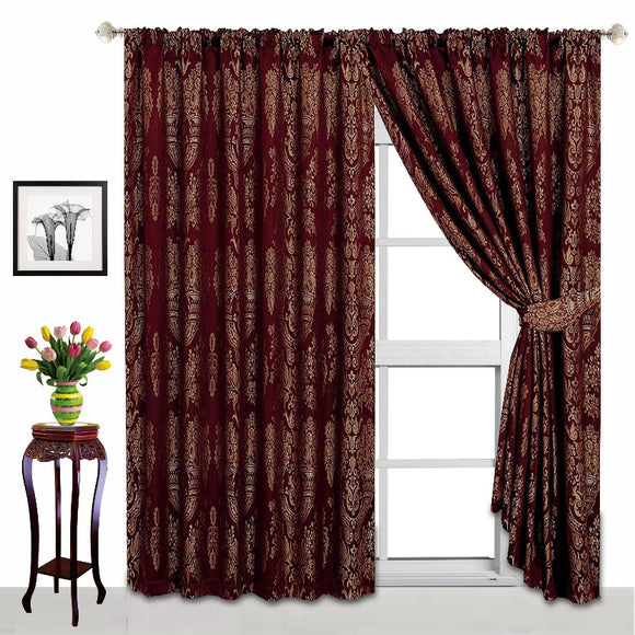 Luxury Fully Lined Jacquard Pencil Pleat / Tape Top Pair Curtains with 2 FREE Tie Backs