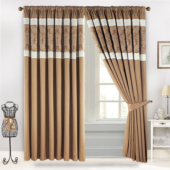 Pencil Pleat Jacquard Opulence Faux Silk Pair Curtains with 2 FREE Tie Backs