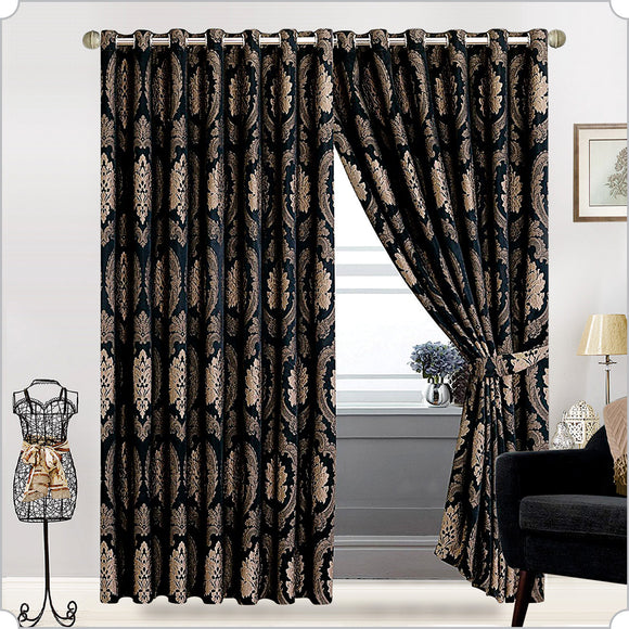 Betty Jacquard Ring Top Curtains Fully Lined Pair With 2 FREE Tie Backs