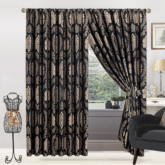 Jacquard Fully Lined Pencil Pleat / Tape Top Pair Curtains with 2 FREE Tie Backs