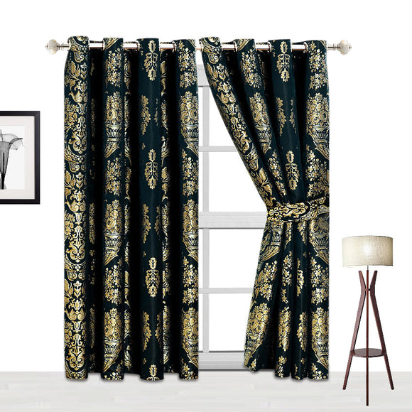 Jacquard Fully Lined Ring Top Pair Curtains with 2 FREE Tie Backs