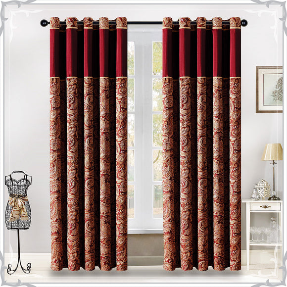 Luxury Paisley Jacquard Eyelet Ring Top Curtains Burgundy & Gold