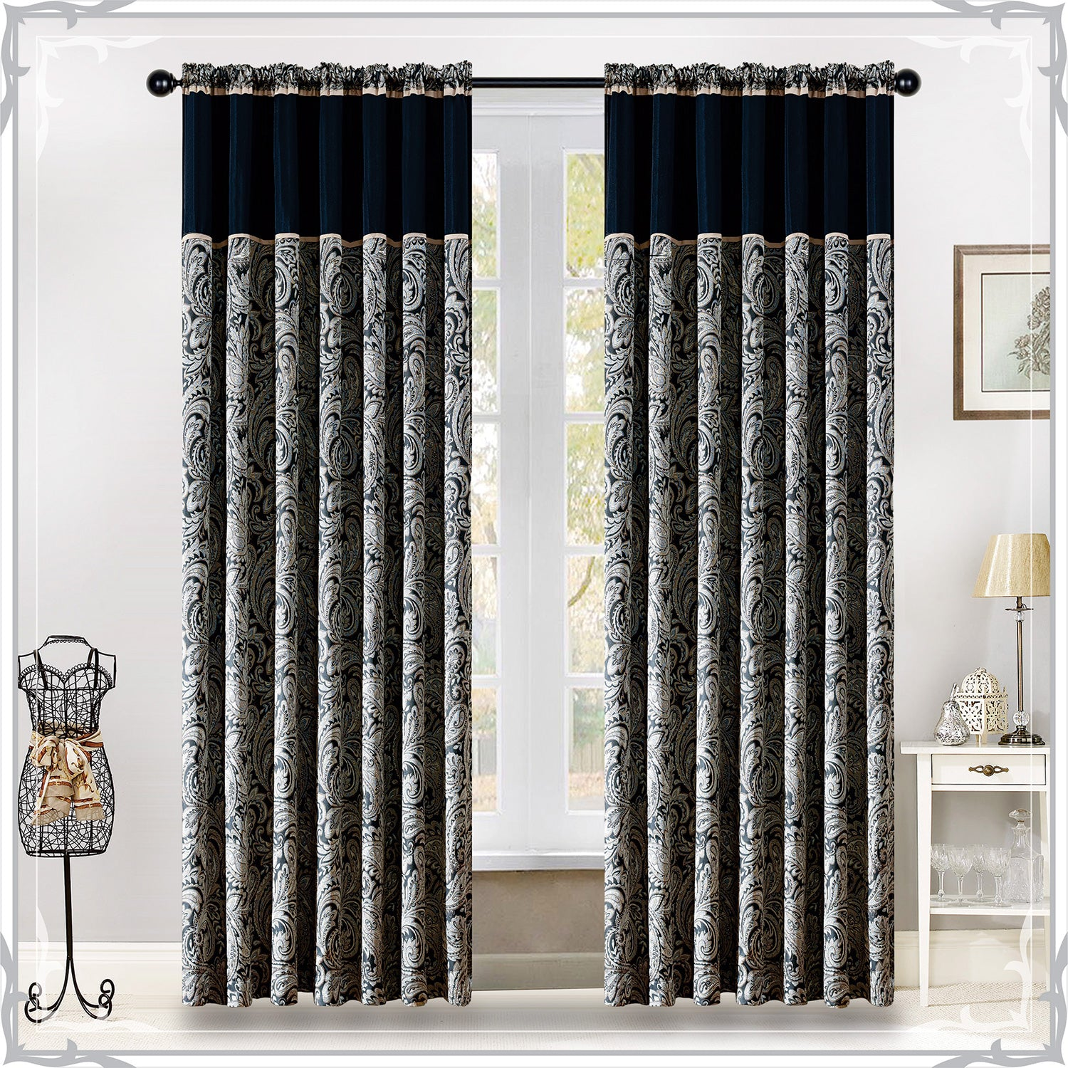Black Cream Pencil Pleat Ready Made Paisley Curtains Buy Now