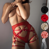 High Waist Mesh Thong with Cutouts & Harness Set - Jacqueline #20260