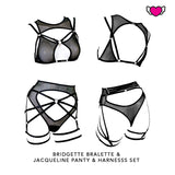 High Waist Mesh Thong with Cutouts & Harness Set - Jacqueline #20260 - StyleWanderlustUSA
