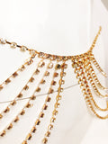 Crystal Layer Chain Bralette / Gold Tone Body Jewelry / Festival, Bra Chain / Crystal Bra Jessica #30020 / Belly Chain Savannah #30021 - StyleWanderlustUSA
