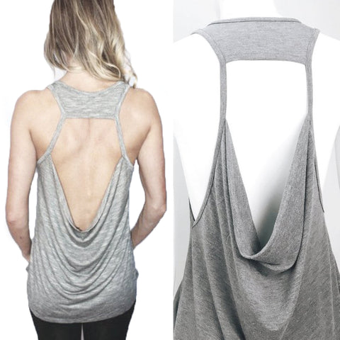 Backless Tank Top with Drape Detail #10103 - StyleWanderlustUSA