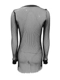 Fishnet See Thru Mesh Mini Dress with Long Sleeves - Willow #40007 - StyleWanderlustUSA