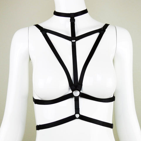 Adjustable Body Harness with Choker Detail / Bondage Lingerie - Riley #20100 - StyleWanderlustUSA