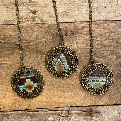 Tooled Turquoise Aztec Leather Necklaces