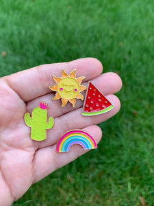 Happy  - Enamel Pins, Sunshine, Watermelon, Rainbow, Cacti
