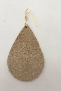 Silver Gold Champagne Teardrop Leather Earrings
