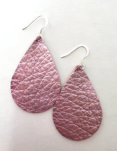 Metallic Pink Teardrop Leather Earrings.