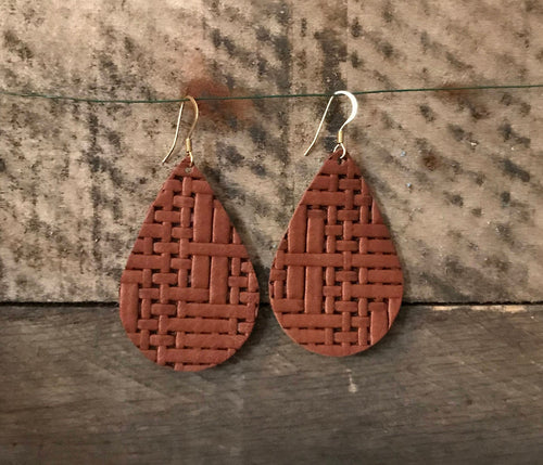 Woven Mocha - Tweed/Basket Weave Teardrop Leather Earrings