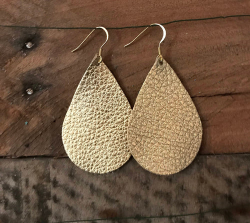 Gold Teardrop Leather Earrings