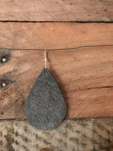 Gun Metal Grey Metallic Teardrop Leather Earrings.