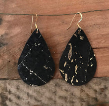 Black Cork with Gold Speckles Teardrop Earring