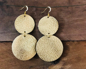 CoCo - Gold Circle Dangle Leather Earrings